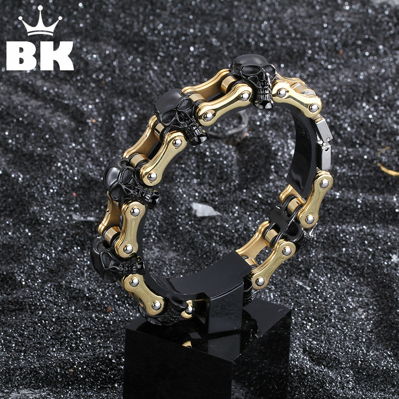 Biker Bracelet 22cm Skull Stainless Steel Bracelet for Men High Quality Gold Black Color Pulseira Masculina Chain High Polished цена 2017