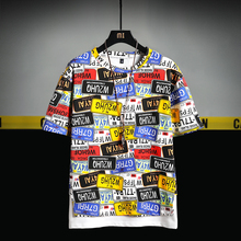 Summer Fashion Mens License Plate Printed T-shirt Short-sleeved O-Neck Loose Men Hip-hop Street Menswear M-5XL