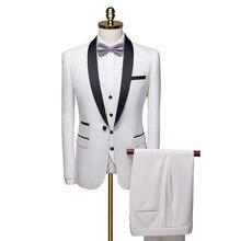 2019 Luxury Mens Suit Jackets Slim 3 Pieces Blazer Business Wedding Party Male Jacket+Vest+Pants Plus Size 6xl men Set