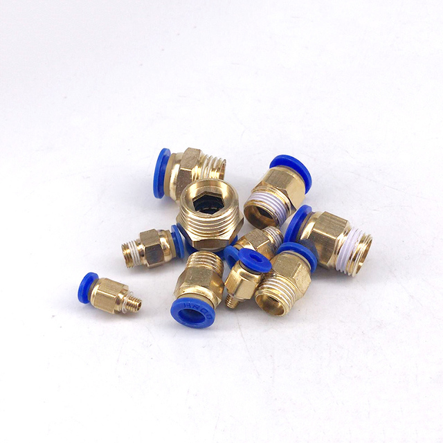Free shipping  1/8'' 1/4'' 3/8'' 1/2'' to-4 6 8 10 12mm  PC series Pneumatic fittings Pneumatic Pipe Fitting tube connector