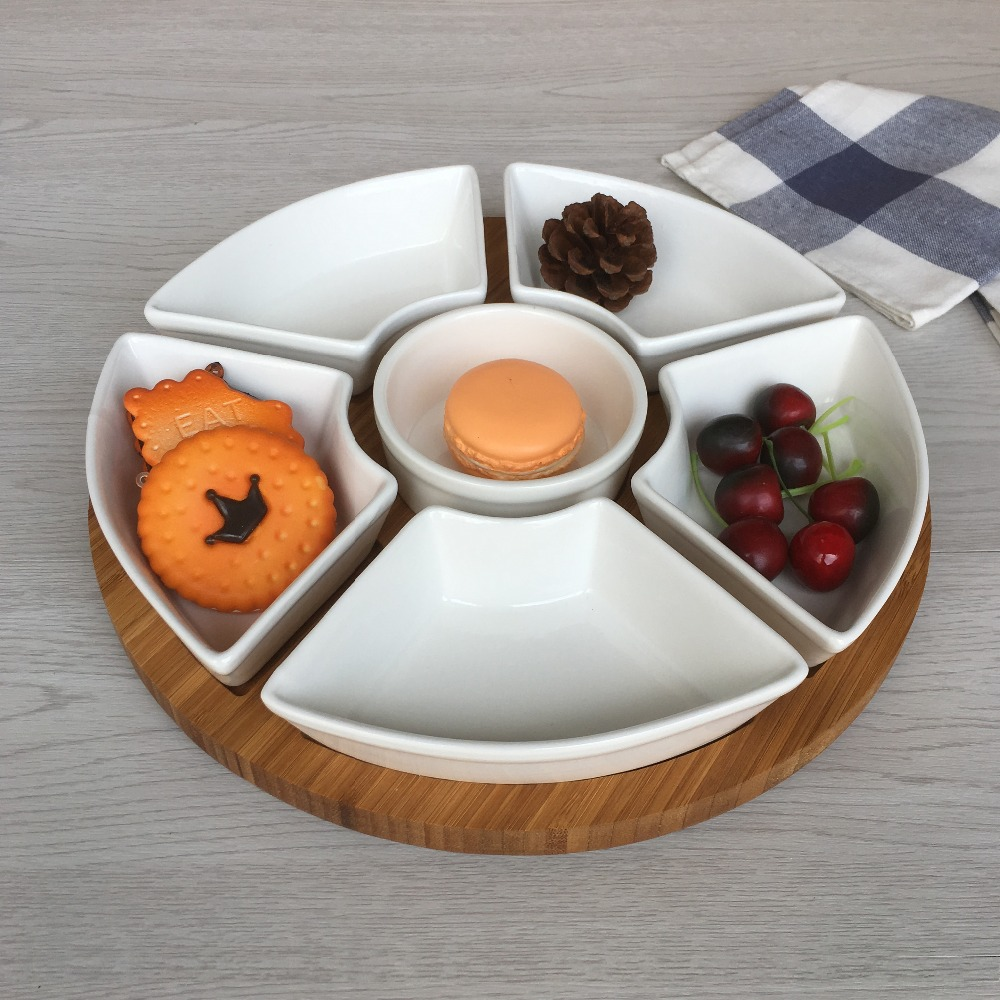 Gourmet Condiment and Dip Serving Set 12 inches 5pcs chip and dip set with bamboo tray