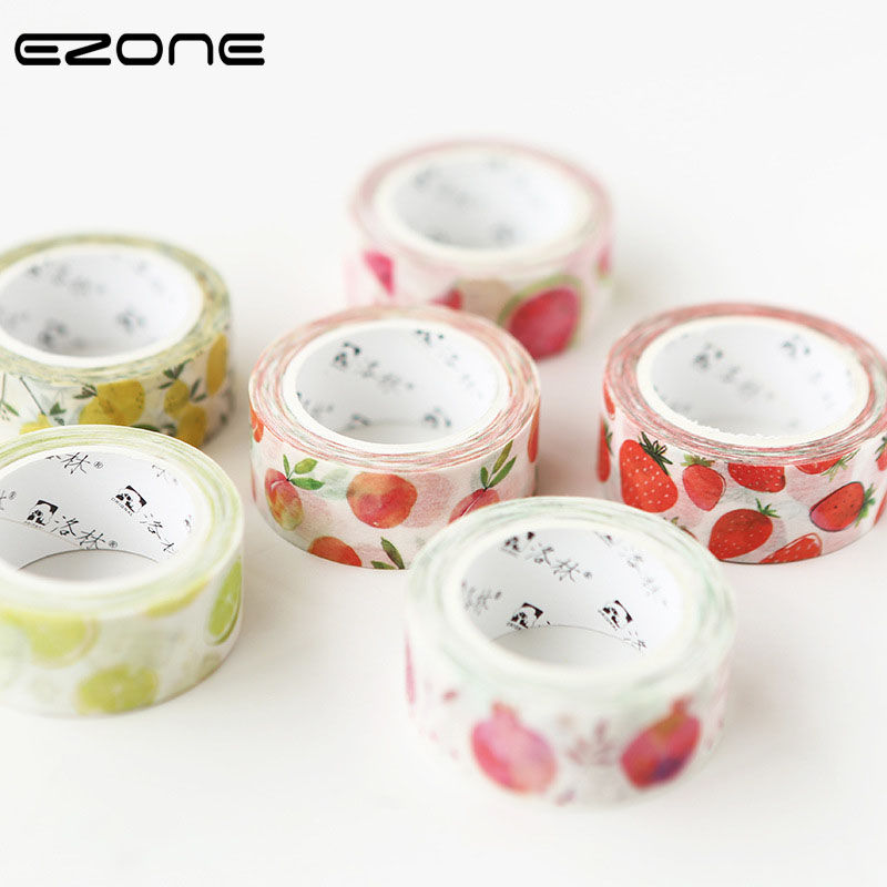 EZONE Cute Fruits Washi Tape Printed Kawaii Lemon/Pear/Strawberry/Peach Masking Tape Single Sided Adhesive DIY Office Supply kawaii fresh summer fruits banana