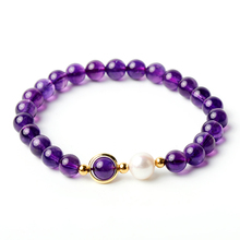 Natural Purple Amethyst 925 Sterling Silver Pearl Round Charm Bracelets Lady Bohemia Fine Jewelry for Woman Anniversary Gift nymph seawater pearl bracelets fine jewelry near round natural pearl bangles for women gold trendy anniversary gift [s308]