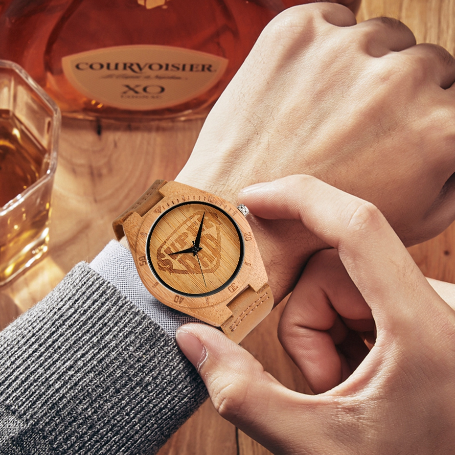 SUPER DAD Wood Watch Simple Bamboo Male Clock Casual Genuine Leather Band Men's Quartz Wristwatch Top Gifts for Dad Father's Day 2017 (15)