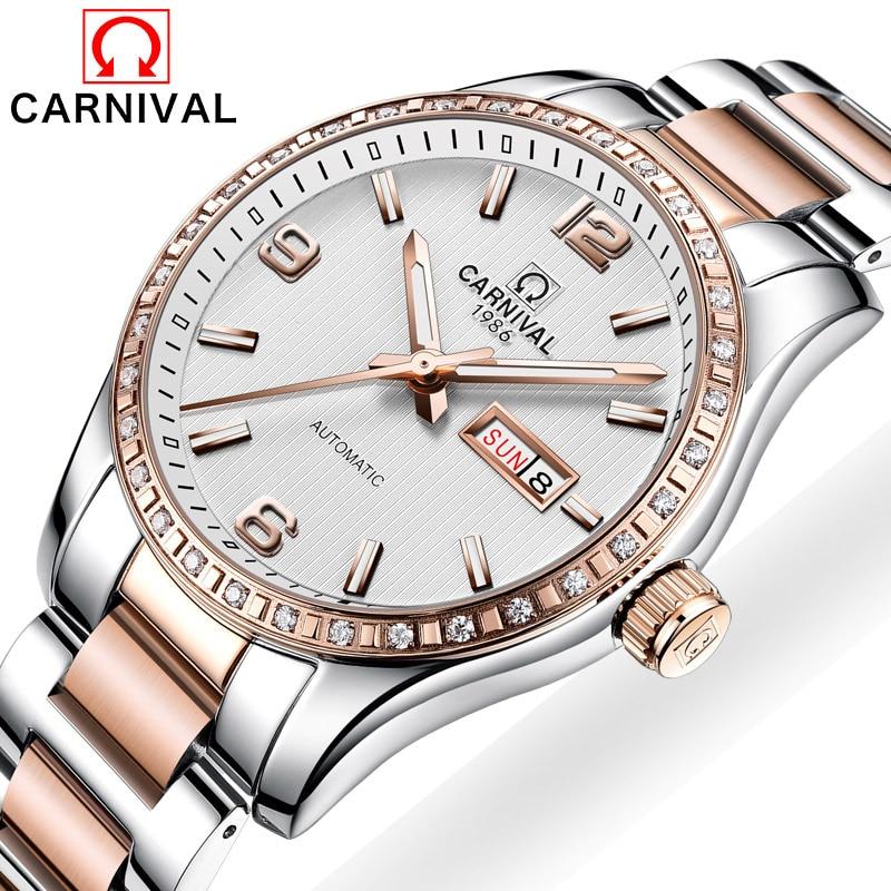 Carnival Watch Men Light Automatic Mechanical Luminous Stainless Steel Waterproof Week Date multifunction Watches