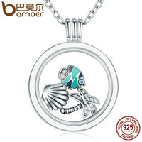 BAMOER 925 Sterling Silver Tropical Paradise Petites Mixed Enamel CZ Memories Floating Box Necklaces Pendants Luxury