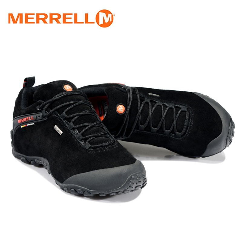 Original Merrell Men Outdoor Sport Black Hiking Shoes For Male Fur Wearable Mountain Climbing Sneakers With Vibram Bottom humtto new hiking shoes men outdoor mountain climbing trekking shoes fur strong grip rubber sole male sneakers plus size