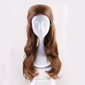 Image 2 - Beauty and the Beast Princess Belle wig Cosplay Costume Women Long Wavy Synthetic Hair Halloween Party Role Play wigs