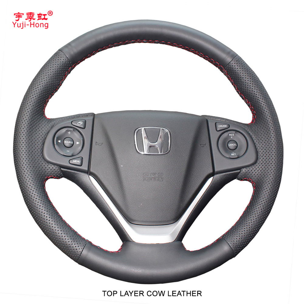 Yuji Hong Top Layer Genuine Cow leather Car Steering Wheel Covers Case for HONDA CRV 2012 2015 Crider Hand stitched Cover-in Steering Covers from Automobiles & Motorcycles    1