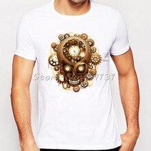 Newest Vintage Style Steampunk Skull Printed T-Shirt Summer Novelty Cool Tee Shirt Tops Mens Harajuku Short Sleeve T Shirts