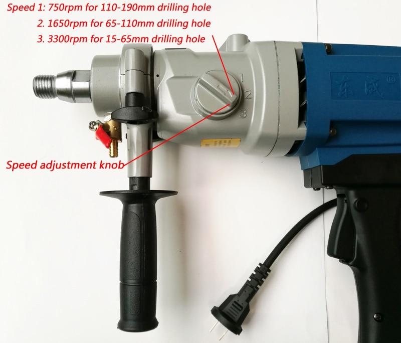 190 mm deimantinis gręžtuvas su vandens šaltiniu (rankinis) 1800W - Elektriniai įrankiai - Nuotrauka 2
