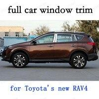كامل نافذة تقليم كماليات سيارة خارجية الديكور شرائط لتويوتا جديد RAV4 الفولاذ المقاوم للصدأ سيارة التصميم مع العمود