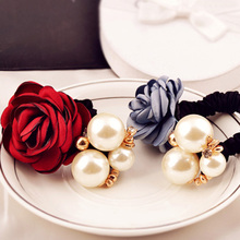 12pcs/lot Sweet Camellias Flower Style Hairband With Pearls Elastic Hair Ropes Girls Outdoor Decoration ja102