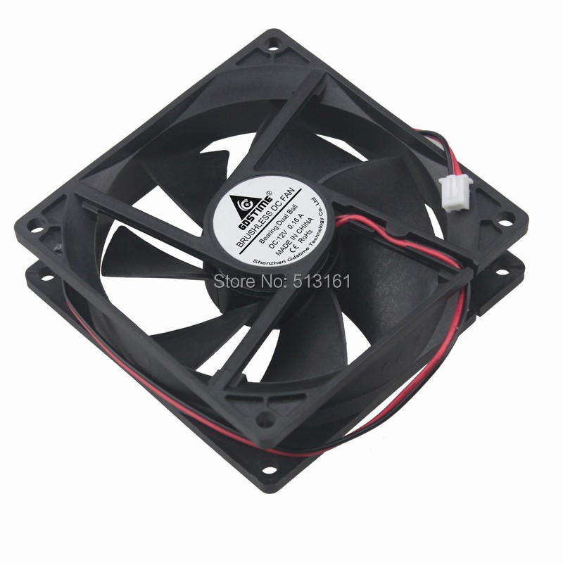 Купить с кэшбэком 5PCS Gdstime DC 12V 2Pin 92mm 92x92x25mm Ball Bearing Computer CPU Cooling Cooler Fan