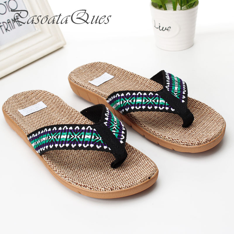 Hemp Men Women Shoes Flip Flops Spring Summer Breathable Home House Indoor Slippers Pasoataques Brand Asspfhp108 plush winter slippers indoor animal emoji furry house home with fur flip flops women fluffy rihanna slides fenty shoes