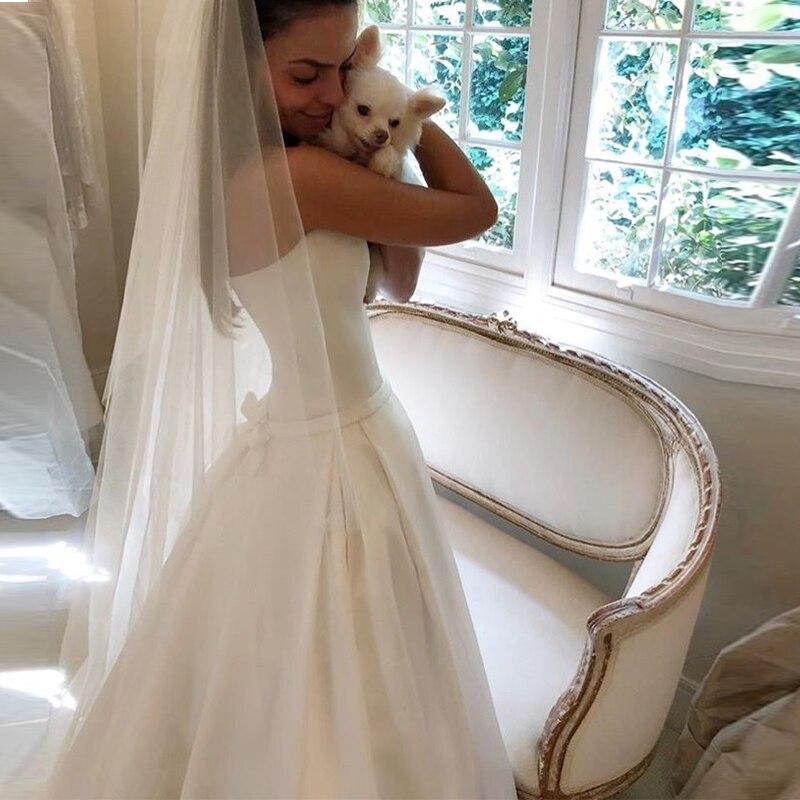 Image 3 - Simple Boho A line Wedding Dresses Strapless Satin Draped Bridal Dress Bow Sashes Vestidos De Noiva Bride Dresses Cheapest-in Wedding Dresses from Weddings & Events