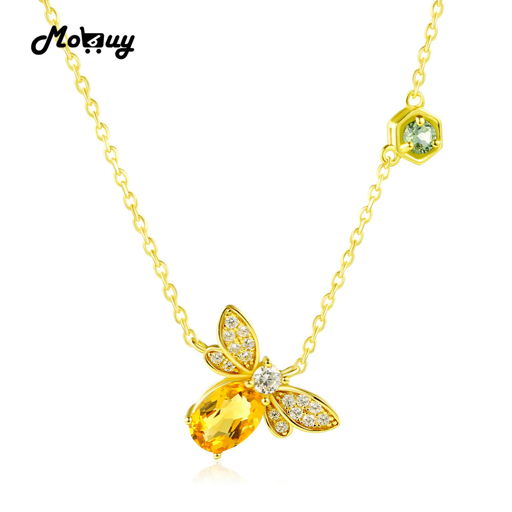 MoBuy MBNI015 Sweet Bee Natural Gemstone Citrine Necklace Pendant 925 Sterling Silver 14K Yellow Gold Plated