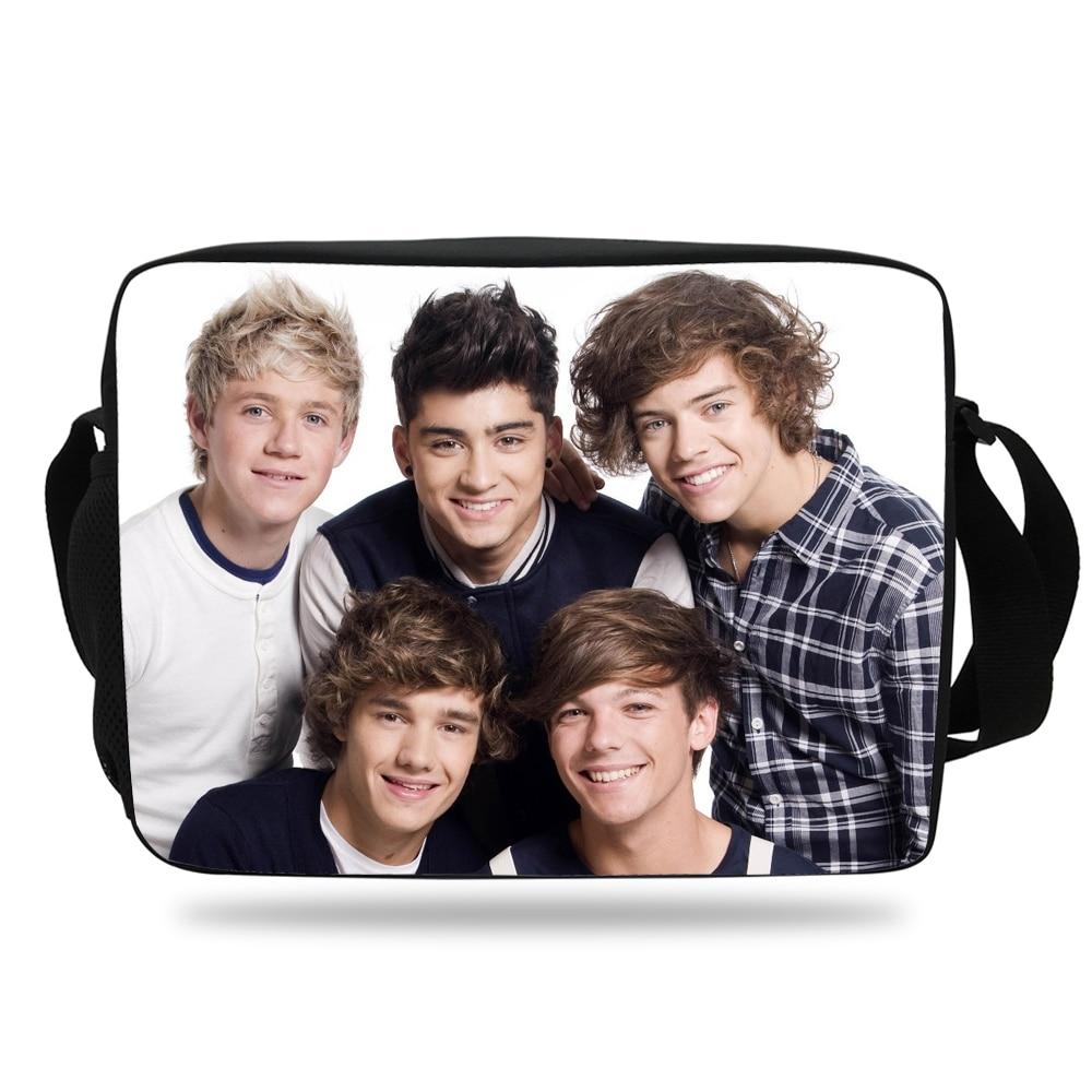 Fashion Kids Print Messenger Bag For Girls School One Direction Pattern Shoulder Bag For Children Boys Flap Bag