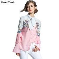 Usualyeah elegante Lazo de la impresión mujeres camisas Flare manga cute chic manga larga blusa Ladies stand collar blusas SY0504