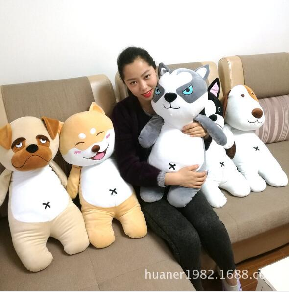 80cm Cute dog plush soft cotton pillow doll toys Husky, Shiba, bulldog toy Christmas gifts stripes sweater design prone husky largest 165cm gray husky dog plush toy sleeping pillow surprised christmas gift h907