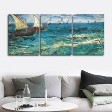 Laeacco Canvas Painting Calligraphy 3 Panel Sea Sailboat Posters and Prints Wall Artwork Pictures Living Room Home Decor