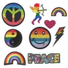 Yin Yang Cupid God Of Love Gay Lesbian Rainbow Smiley Peace LGBT Uniform Punk Rockabilly Applique Colorful Flag Iron On Patch(China)