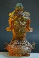 Старый Китай Буддизм Янтарный резные счастливый смех Будды Майтреи Сокровище Чаша статуя