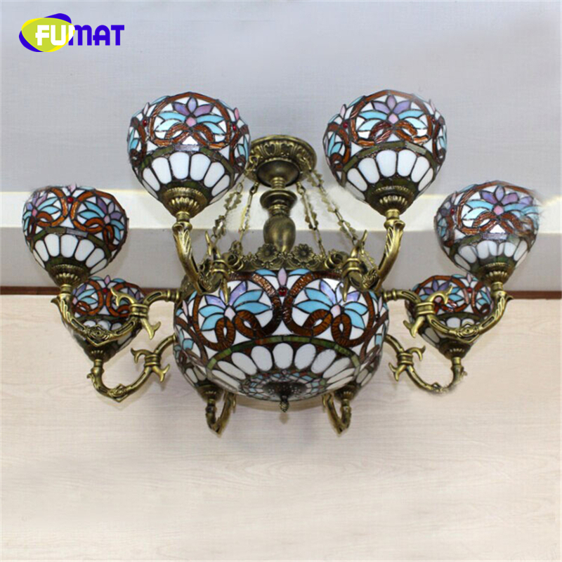 FUMAT Stained Glass Lamp European Vintage Glass Pendant Light For Living Room Baroque LED Lights Artistic Glass Pendant Light fumat stained glass pendant lights small hanging glass lamp for bedroom living room kitchen creative art led pendant lights