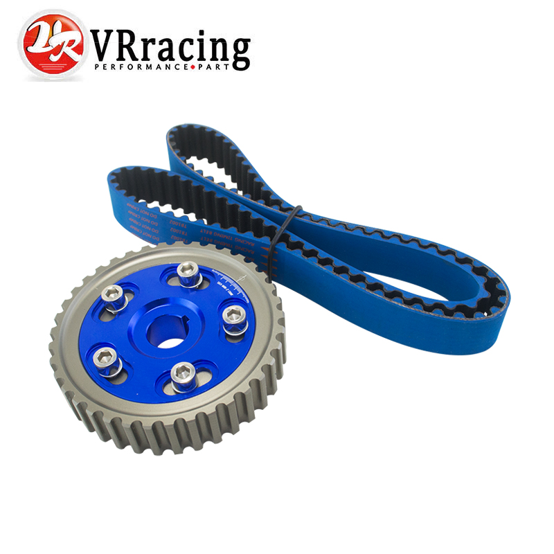 VR RACING - HNBR Racing Timing Belt BLUE + Aluminum Cam Gear Blue FOR 92-00 Civic D16Z D16Y VR-TB1002B+6542B vr racing hnbr racing timing belt