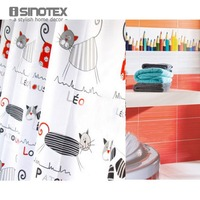 Shower Curtain Polyester Cloth Waterproof Moldproof Cartoon Tape Gutters Bathroom Curtain Cat 180cm 180cm 71 71