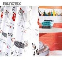 Shower Curtain Polyester Cloth Waterproof Moldproof Cartoon Tape Gutters Bathroom Curtain Cat 180cm 180cm 71 71