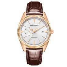 Reef Tiger/RT TOP ยี่ห้อ Luxury Mens นาฬิกาอัตโนมัตินาฬิกาสายหนังแท้กันน้ำ Relogio Masculino RGA1616