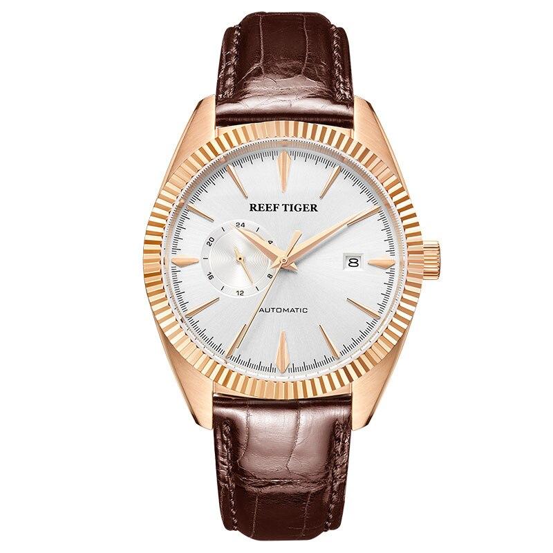 Relojes de vestir automáticos de lujo de marca de tigre de arrecife/RT, correa de cuero genuino, resistente al agua, reloj Masculino RGA1616-in Relojes mecánicos from Relojes de pulsera    1