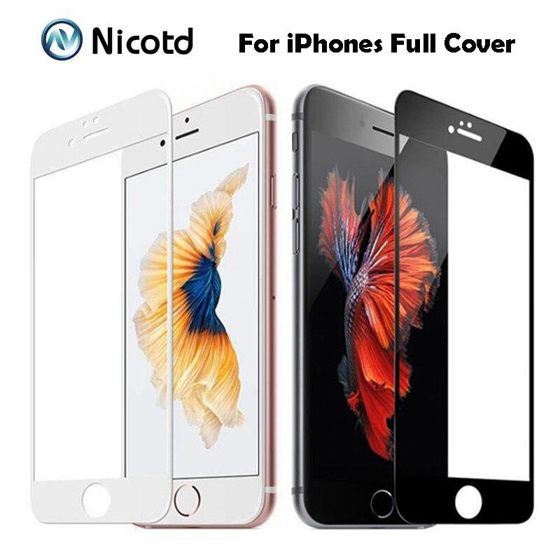 9 H Полностью покрытое закаленное стекло 2,5 D для iPhone 7 7 8 Plus Взрывозащищенная защитная пленка для экрана для iPhone 6 6S plus 8 8 Plus X