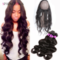 Ear To Ear Lace Frontal Closure With Bundles 360 Lace Frontal with bundle Peruvian Virgin Hair Body Wave With Natural Hairline