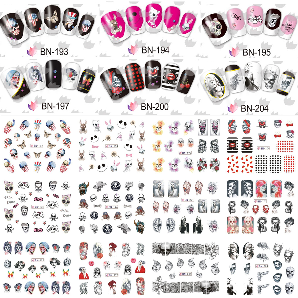 12 Sheets Cool Nail Art Water Transfer Sticker Decals