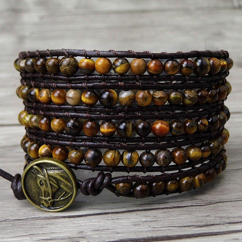 Us 19 9 Boho 5 Wrap Bracelet Gypsy Leather Tiger Eye Stone Beads Natural Jewelry Yoga In Bracelets