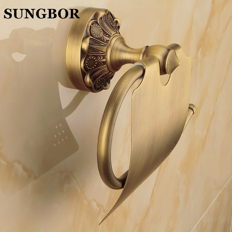 European Style Antique Brass Luxury Paper Towel Rack Bathroom Paper Holder Base Carved Toilet Paper Box Bathroom Toilet Accessor