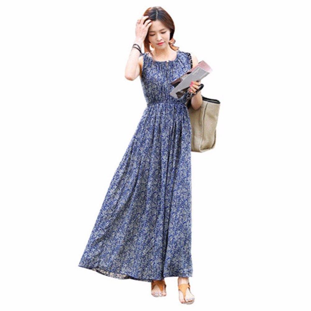 Casual Women Summer Dress Boho Vintage Floral Long Maxi Beach Sundress Dresses Vestidos PL2