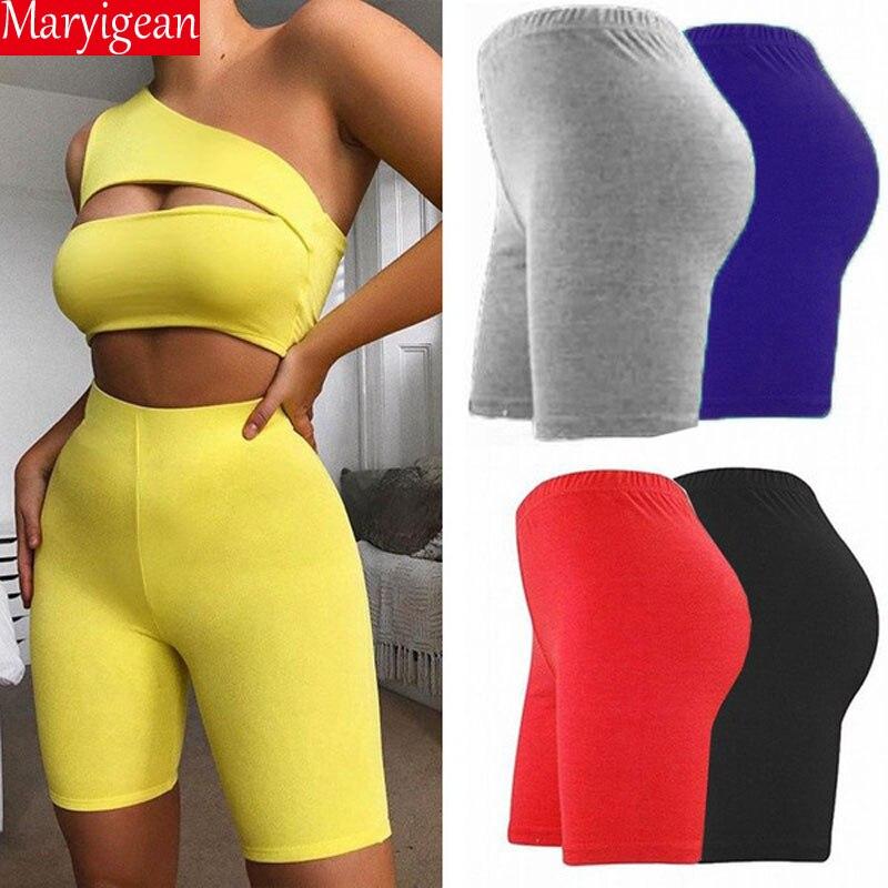 Maryigean Summer Biker Shorts 2019 High Waist Shorts Women Eastic Waist Skinny Fitness Short Active Wear Gloss Slim Fit Shorts