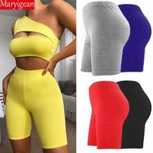Maryigean Summer Biker Shorts 2019 High Waist Women Eastic Skinny Fitness Short Active Wear Gloss Slim Fit