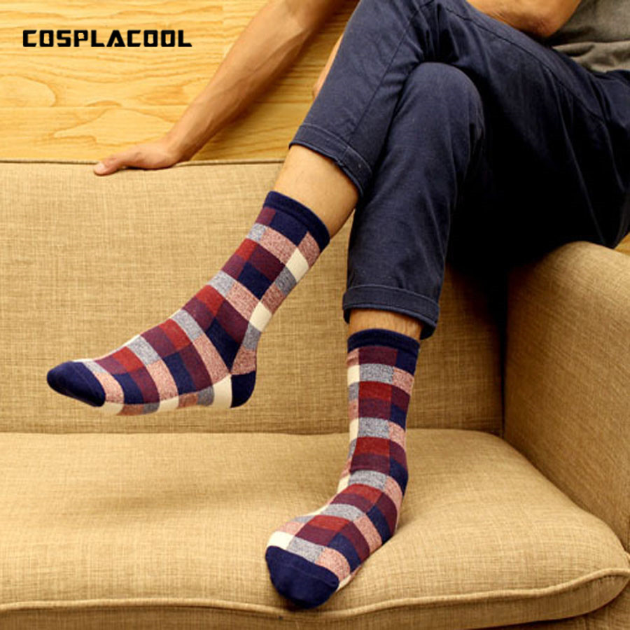 [COSPLACOOL] New spring summer Cotton grid classic business Leisure   socks   men   socks