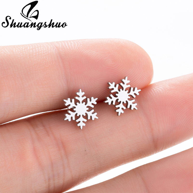 Shuangshuo New Fashion Snowflake Stud Earrings For Women Silver Cute Small Christmas Jewelry brinco feminino