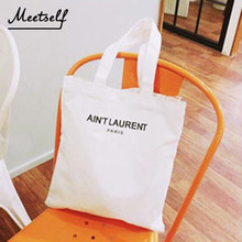 MEETSELF 2018 New Fashion Simple Print Shoulder Canvas Bag Convenient Large Capacity Letter For Women Present Soft FLF029