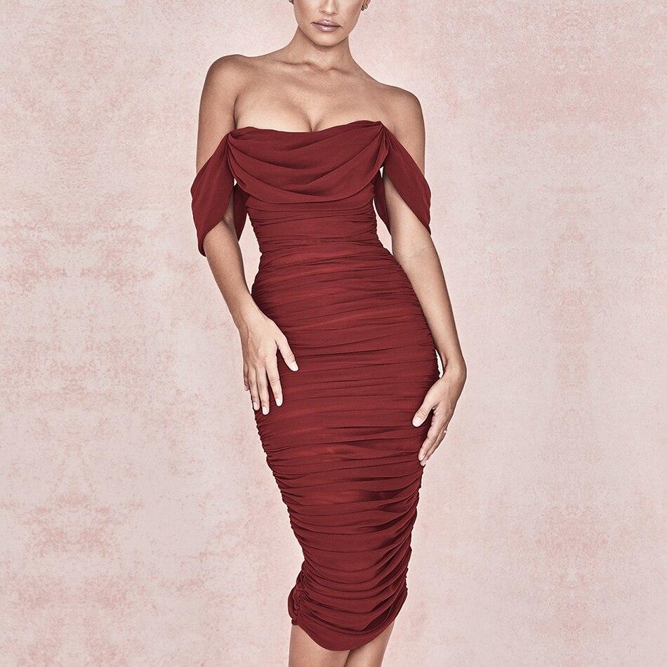 Adyce 2019 New Summer Women Club Dress Vestidos Draped Slash Neck Celebrity Party Dress Elegant Off