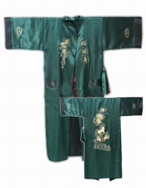 New Arrival Green Men's Faux Silk Reversible Bathrobe Two-Face Nightwear Embroidery Kimono Gown Vintage Sleepwear One Size S3010