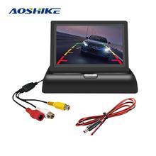 AOSHIKE Monitor samochodowy składany 4 3 ekrany do samochodu z kamera samochodowa Parking 12V Monitor samochodowy wyświetlacz tft lcd uniwersalny 640*480 tanie tanio 4 3 120*77mm CST-X02 640x480 W desce rozdzielczej Monitory samochodowe 0 25g