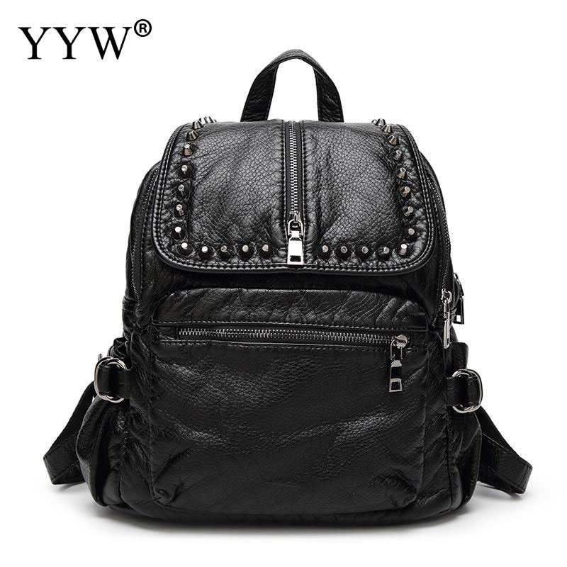 New Arrival Women backpacks Travel Rucksacks For Girls Black PU Leather Backpack Rivet Small School Book Bags fashion designer new kids fashion women famous brand school backpacks small backpack vintage casual rivet pu leather travel bags high quality