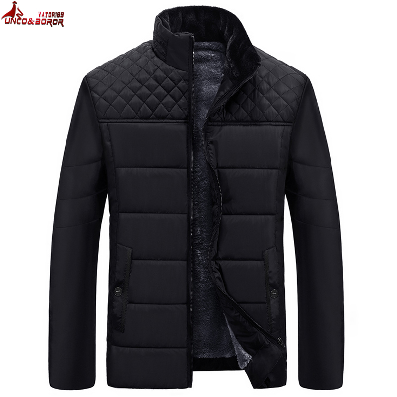 UNCO&BOROR Brand Men's Jackets And Coats Patchwork Plaid Designer Fleece Jackets Men Outerwear Winter Fashion Male Clothing