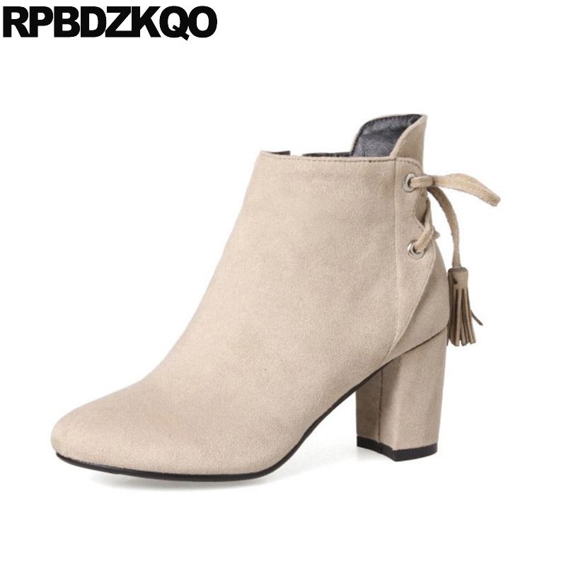 Tassel Chunky Casual Big Size Winter Beige Shoes 2017 Booties Suede High Heel Women Ankle Boots 2016 Round Toe Fringe 10 Female